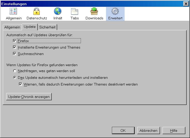 Automatisches Update bei Firefox unter Windows