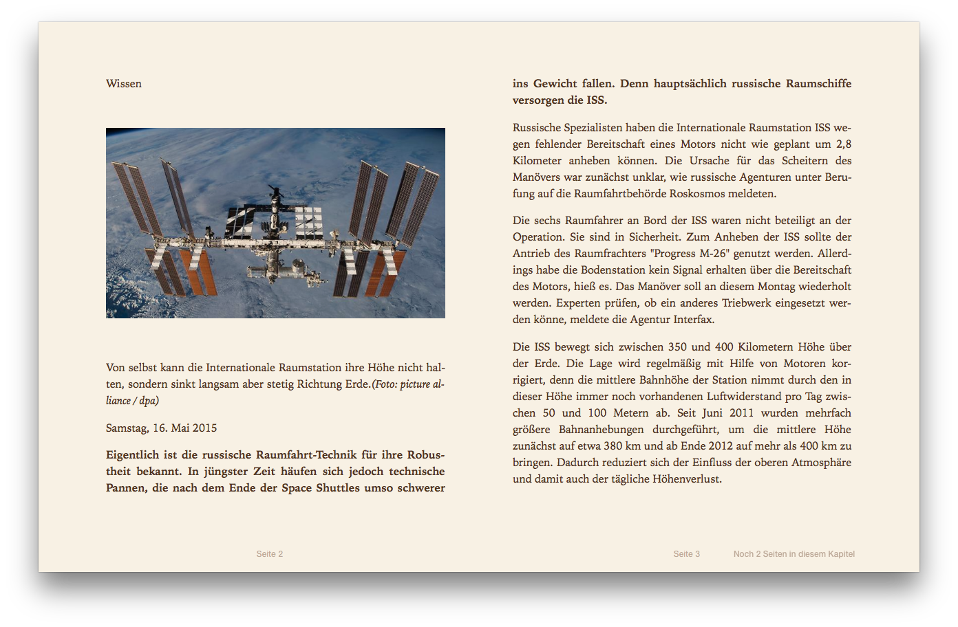 Screenshot: Artikel als ePub in iBooks
