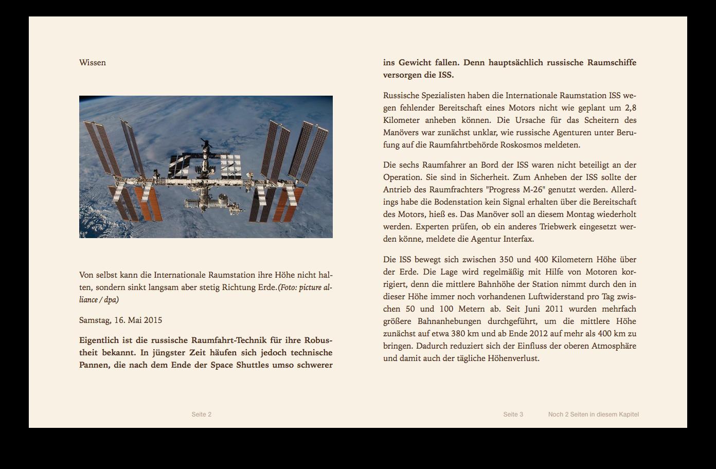 Screenshot: Artikel als ePub in iBooks