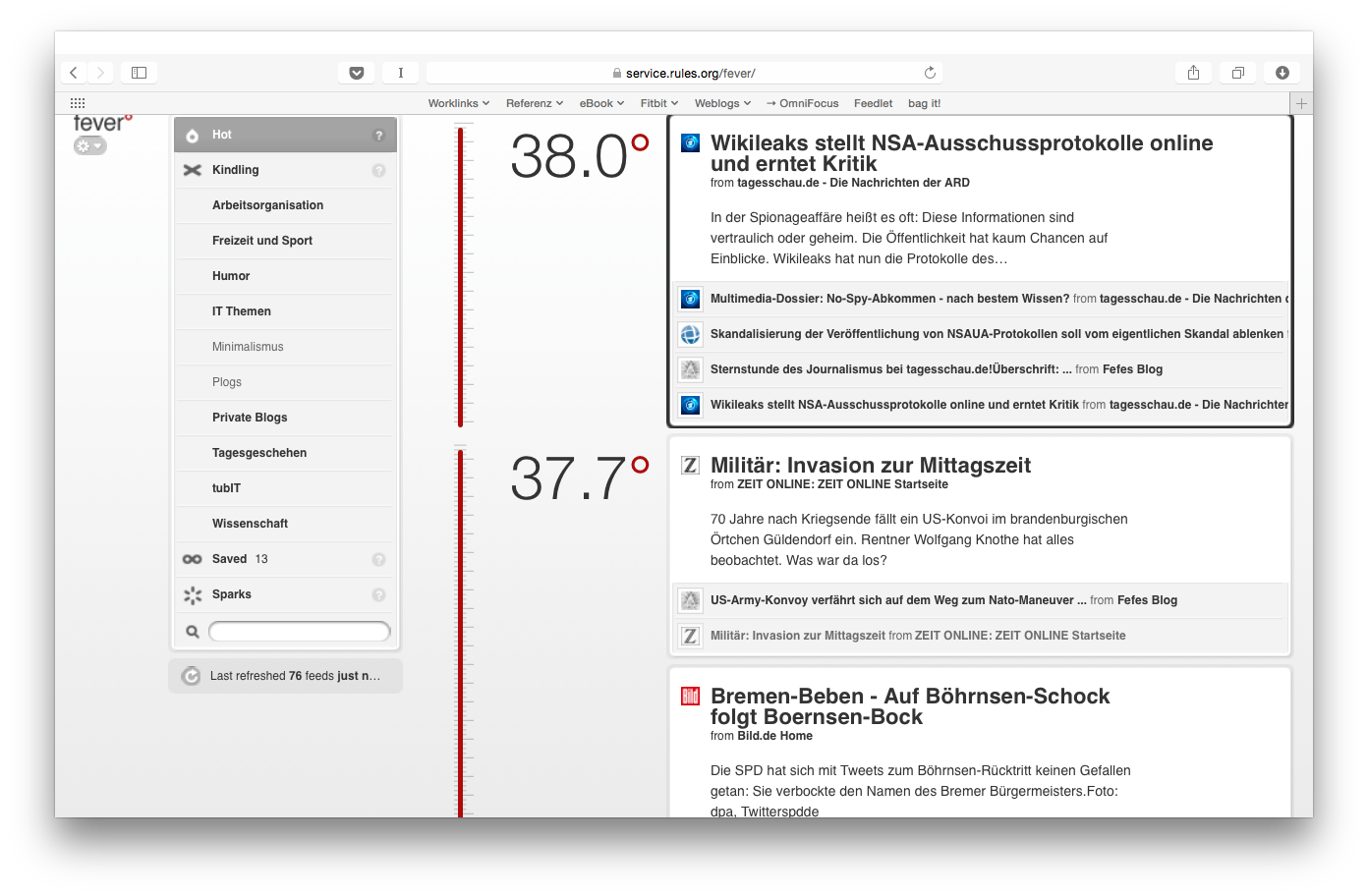 Screenshot: Fever im Safari Browser