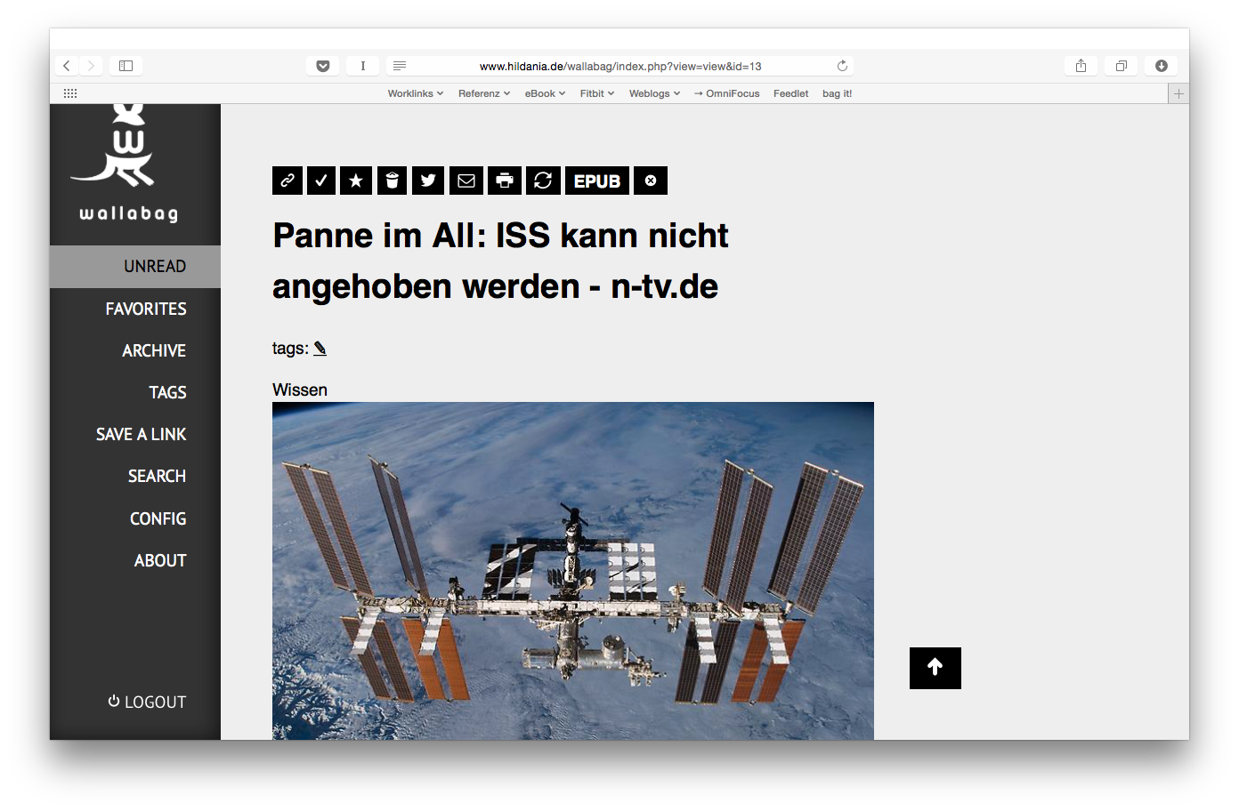 Screenshot: Wallabag im Browser