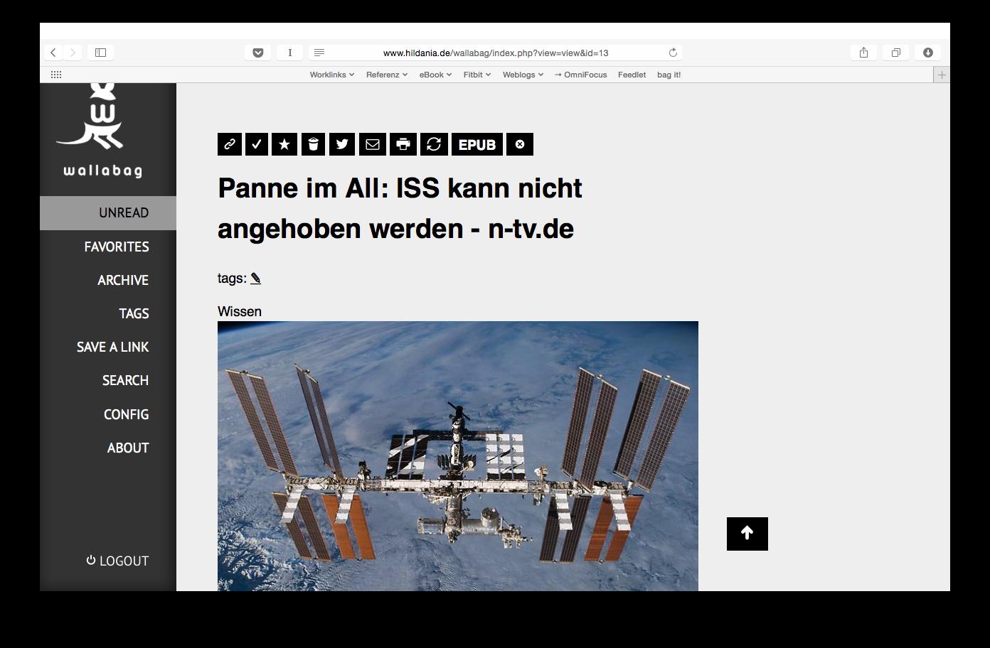 Screenshot: Wallabag im Browser