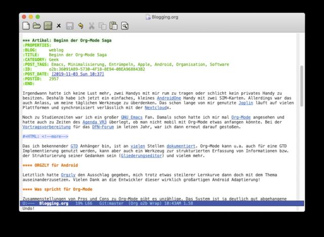 Screenshot des Artikels im Editor